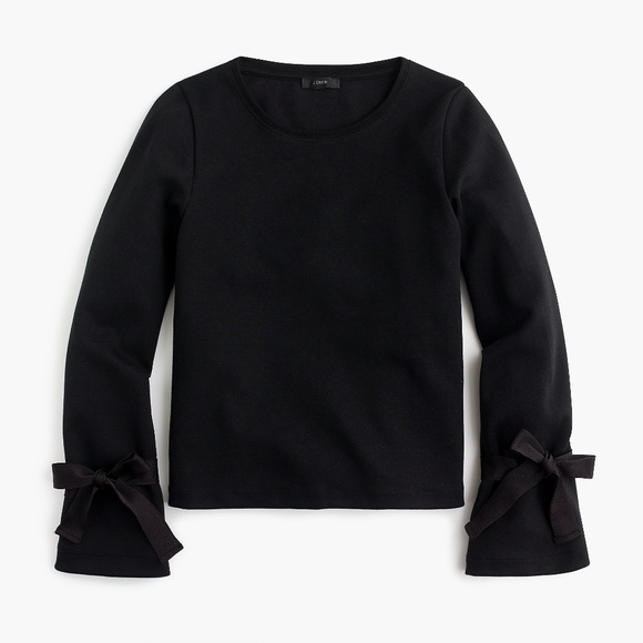 J. Crew Tops - NWT J. Crew Women's Tie Sleeve Sweatshirt - Black